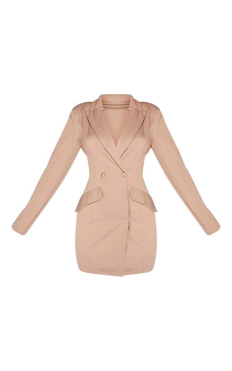 Taupe Long Sleeve Pinched Waist Button Detail Blazer Dress 5