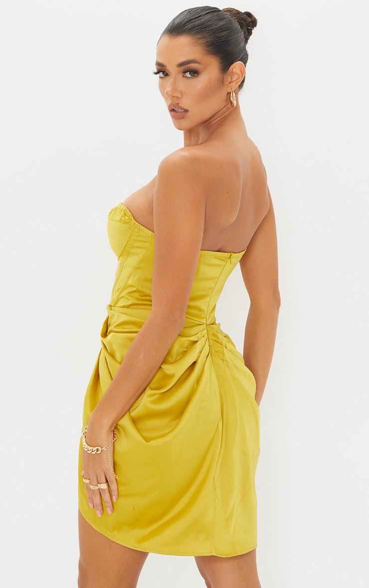 Light Lime Satin Bandeau Corset Detail Gathered Skirt Bodycon Dress 2