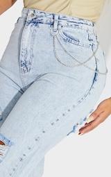 Shape Acid Blue Wash Chain Detail Ripped Bum Straight Leg Jeans 4