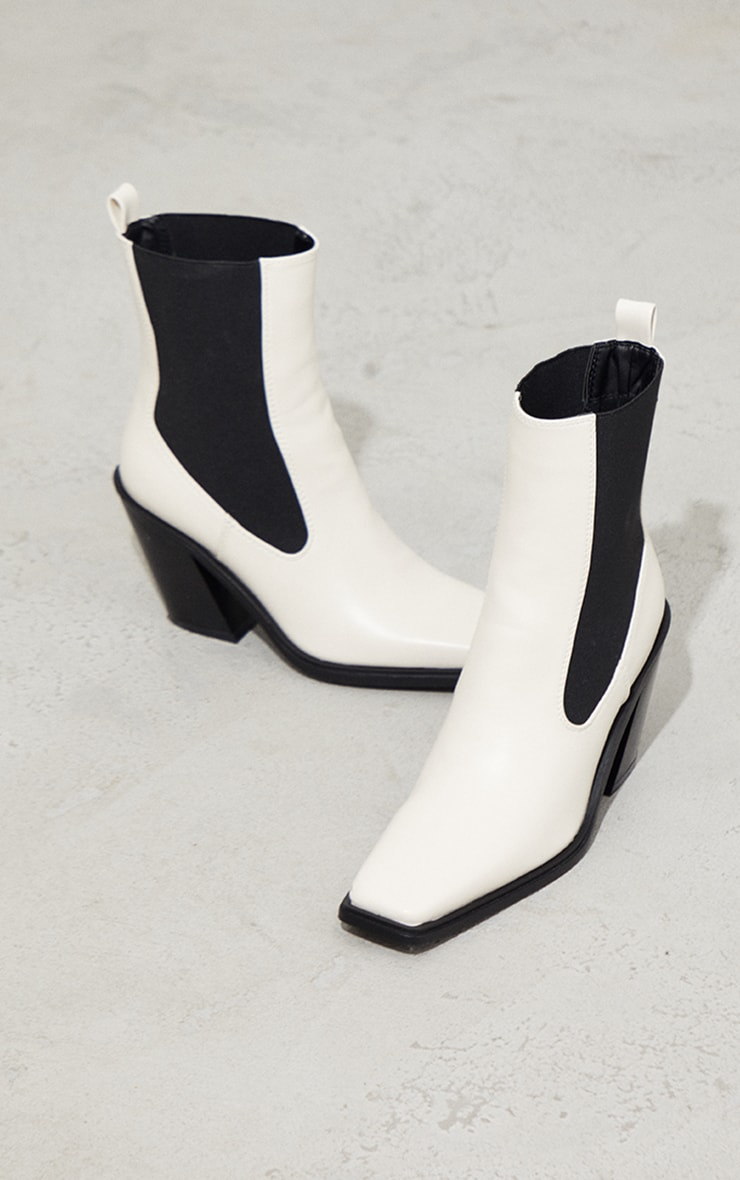 Cream PU Square Toe Western Ankle Boots 3