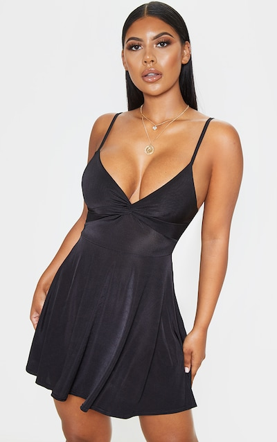 Black Metallic Slinky Knot Detail Swing Dress