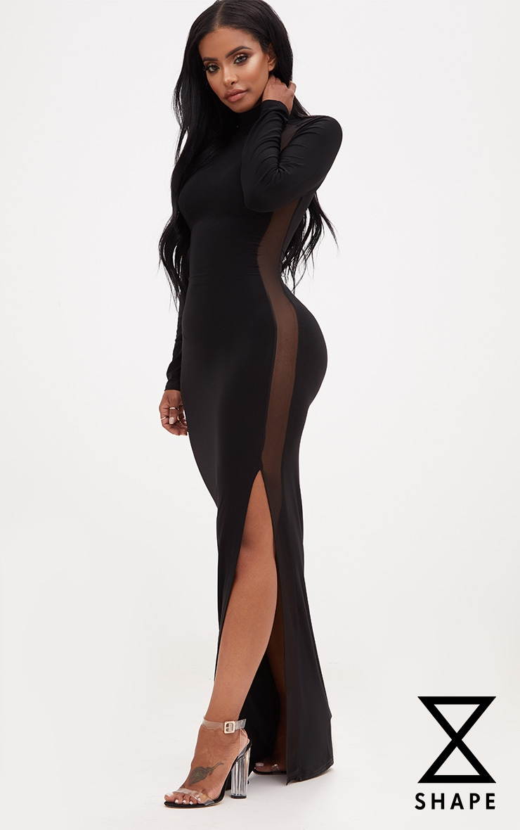Shape Black Slinky Mesh Insert Maxi Dress 1