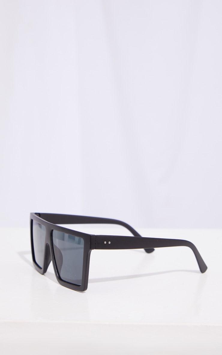 Black Matte Oversized Flat Bar Sunglasses 3