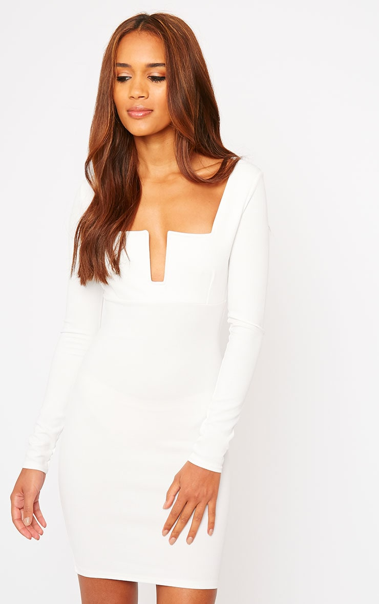 Roz Cream Plunge Mini Dress 1