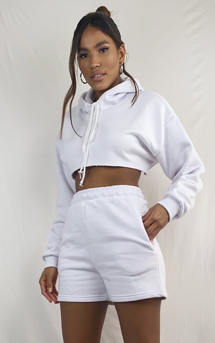 White Extreme Raw Edge Cropped Hoodie 1