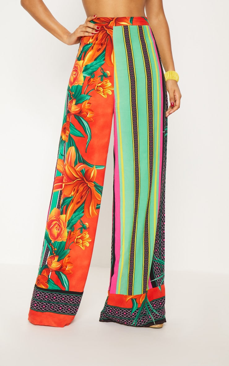 Multi Mixed Print Tropical High Waisted Wide Leg Trousers 3