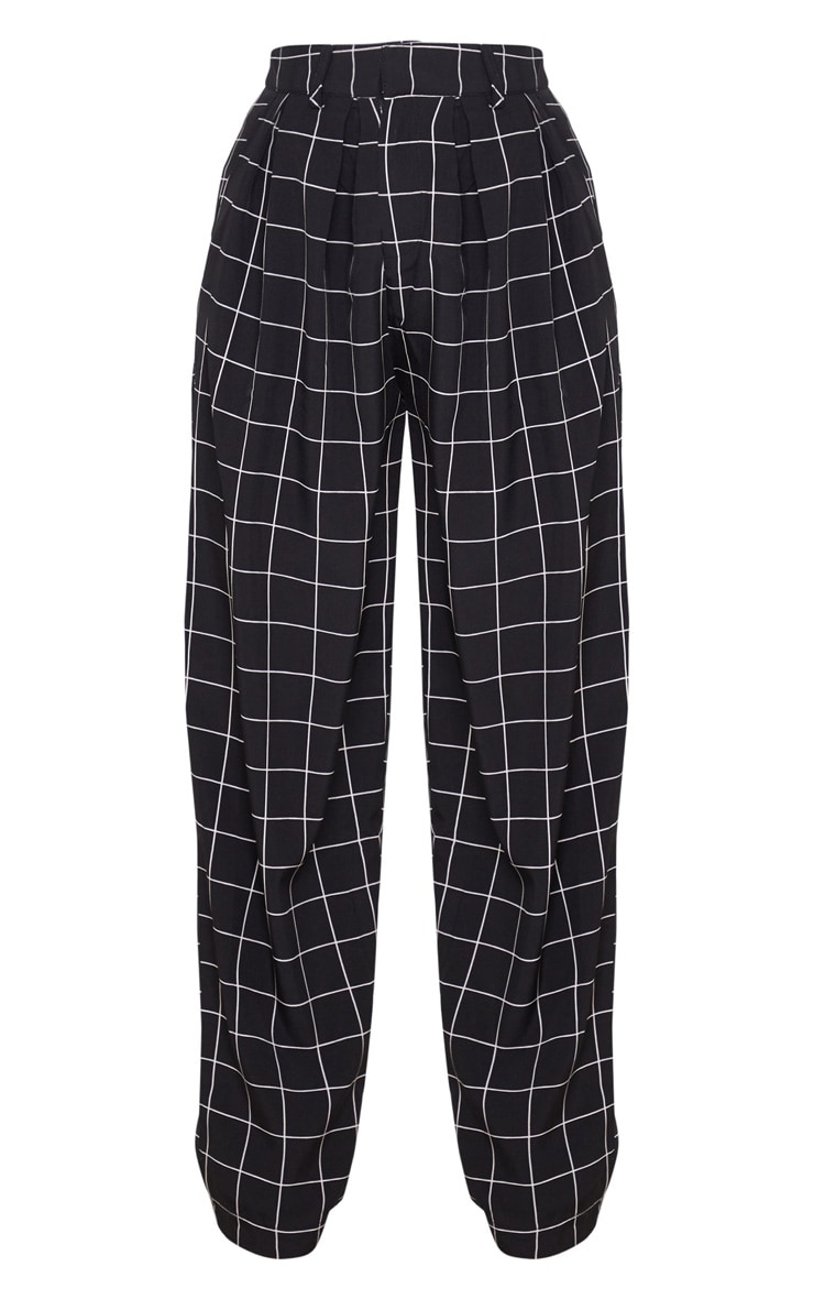 Petite Black Checked Woven High Waisted Balloon Leg Pants 3