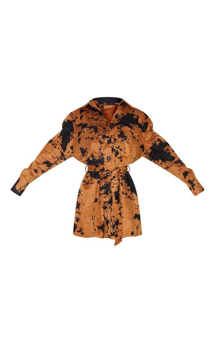 Tan Cord Belted Tie Dye Shirt Dress 5