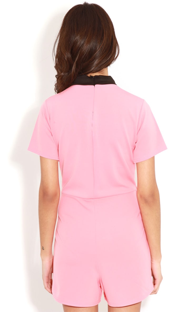 Edie Pink Playsuit With Black Collar Detail-S/M 2