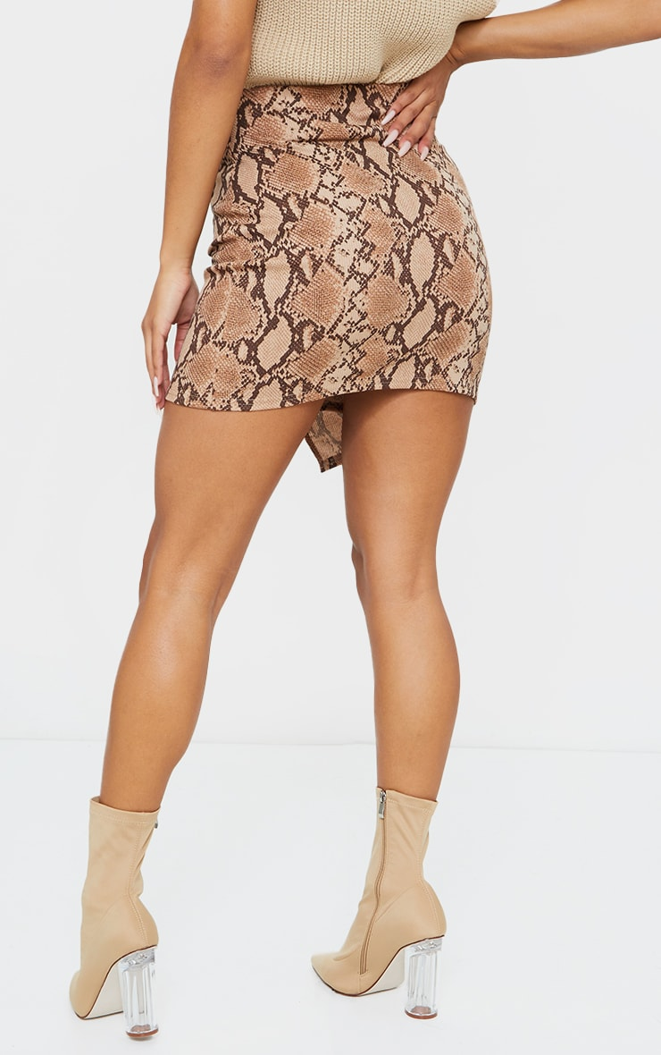 Brown Snake Print Wrap Mini Skirt 3