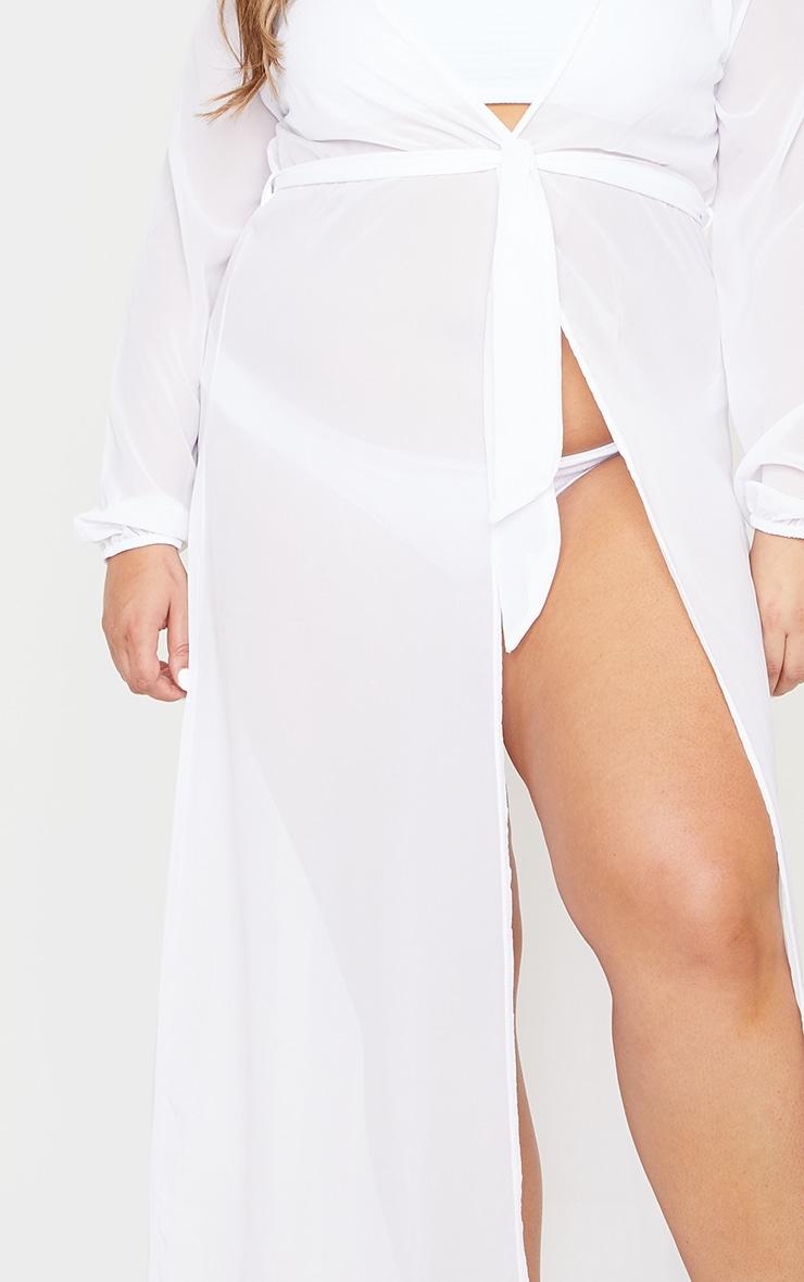 Plus White Alice Maxi Belted Beach Kimono 4