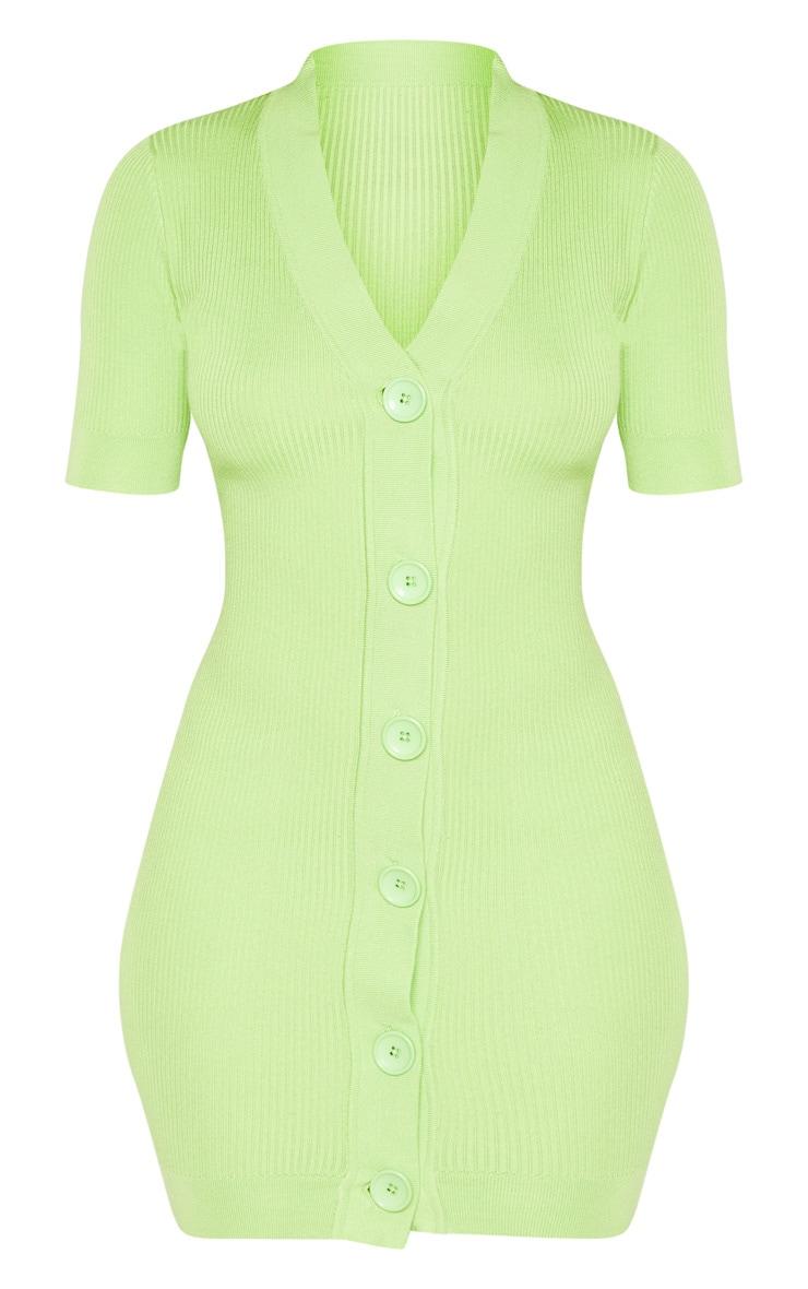 Lime V Neck Knitted Contrast Dress 3