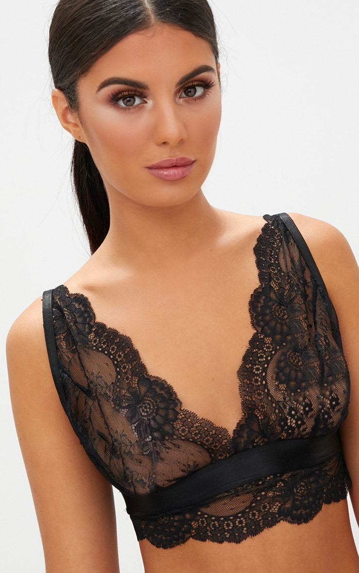 Black Scallop Lace Underbust Detail Bra 5