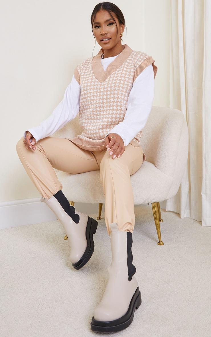 Nude Dogstooth V Neck Knitted Side Split Vest 3