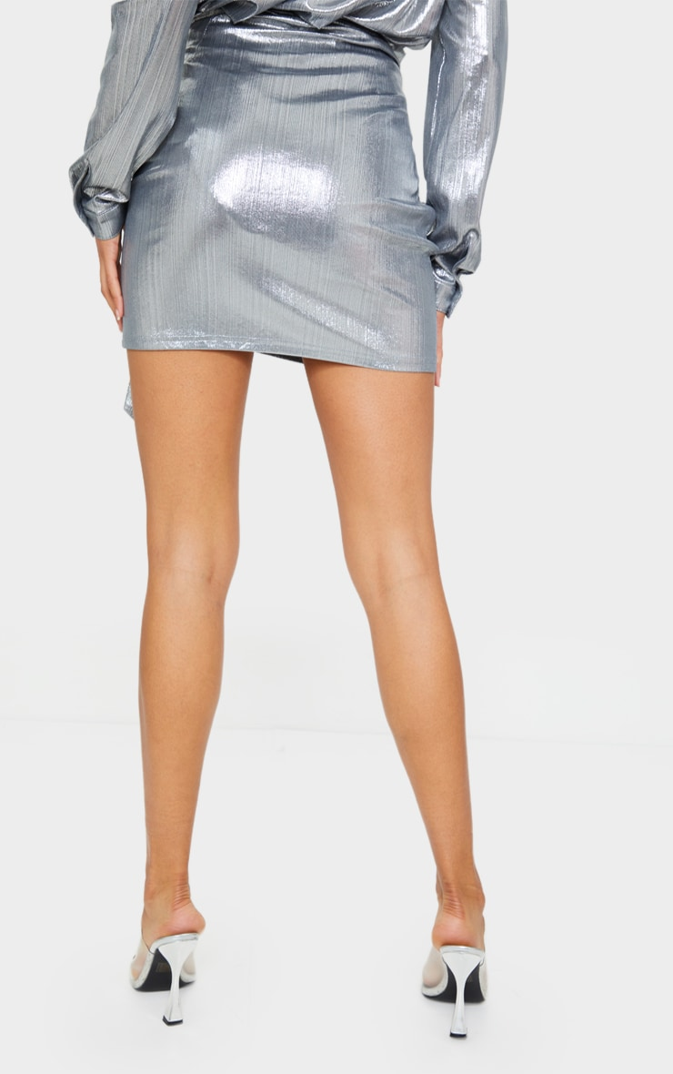 Silver Metallic Ruched Mini Skirt 3