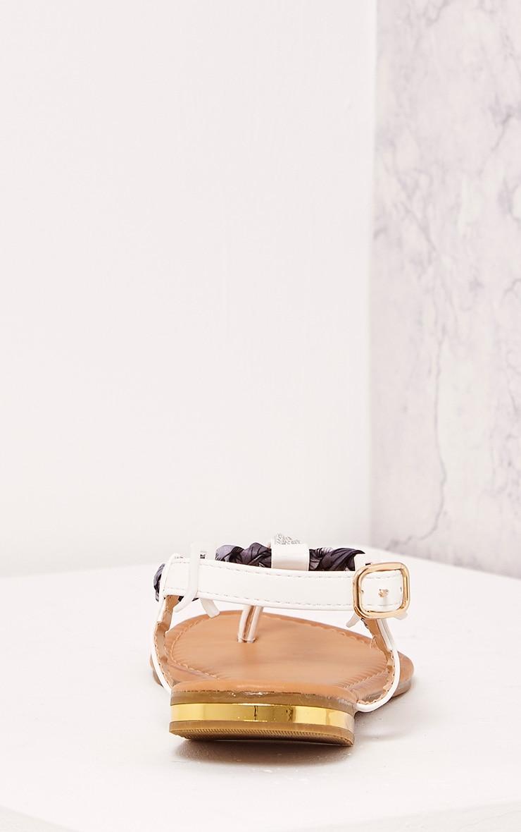 Kelina White Plaited Strap Embellished Sandals 4