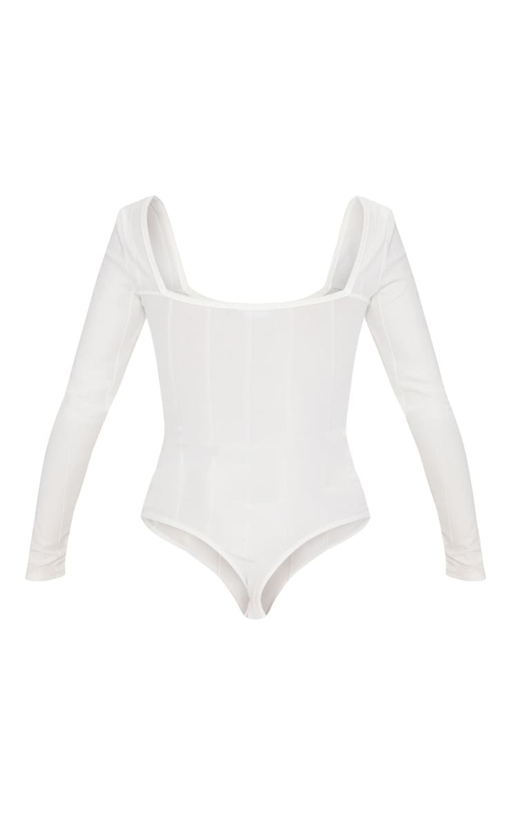 Cream Bandage Rib Square Neck Long Sleeve Bodysuit 4