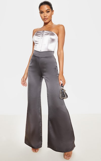 Charcoal Satin Wide Leg Trouser