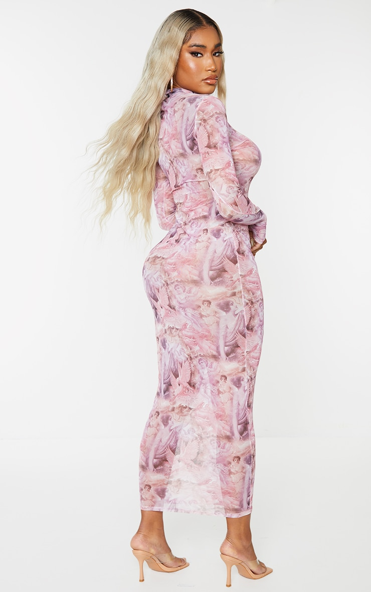 Shape Pink Renaissance Print Sheer Mesh Thumb Hole Midaxi Dress 2