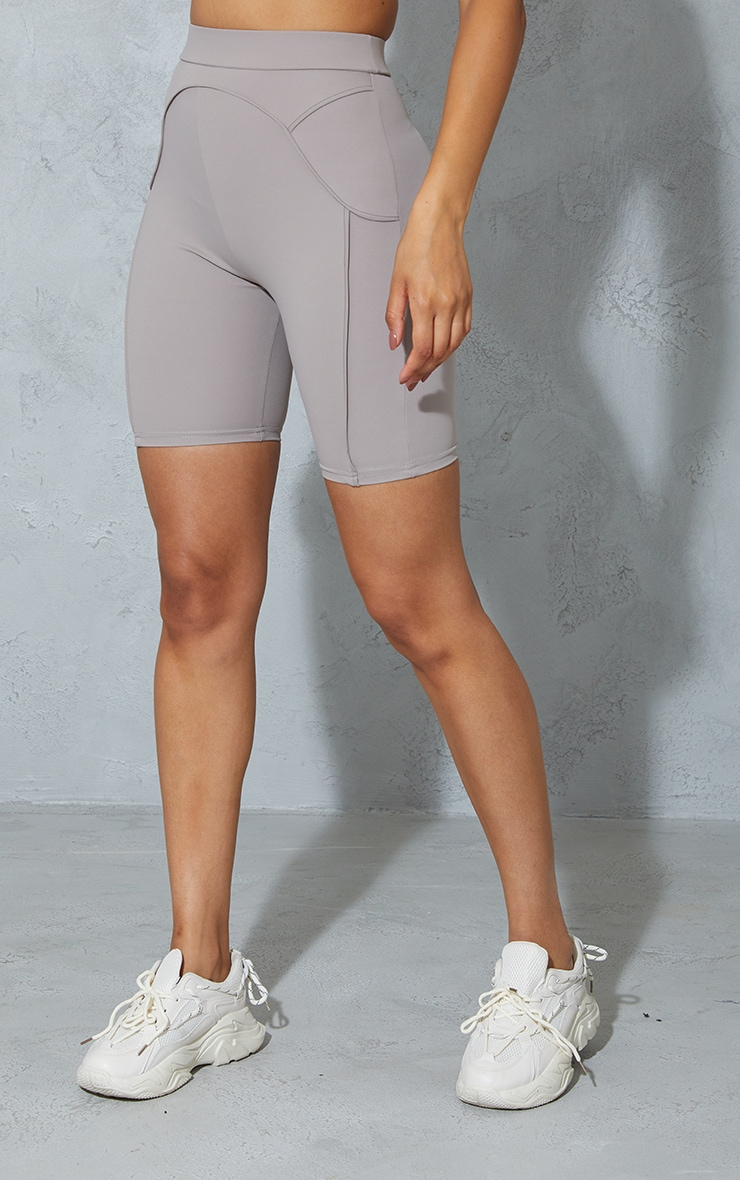 Taupe Contrast Bike Shorts 2