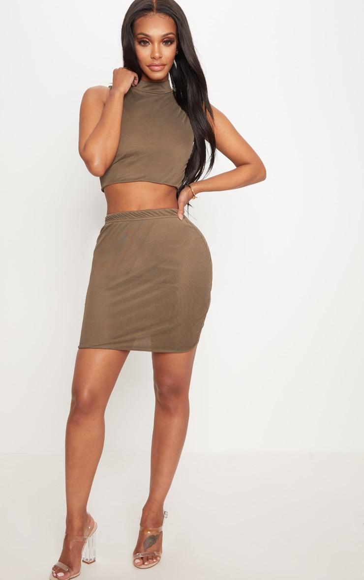 Shape Khaki Mesh Bodycon Skirt 5