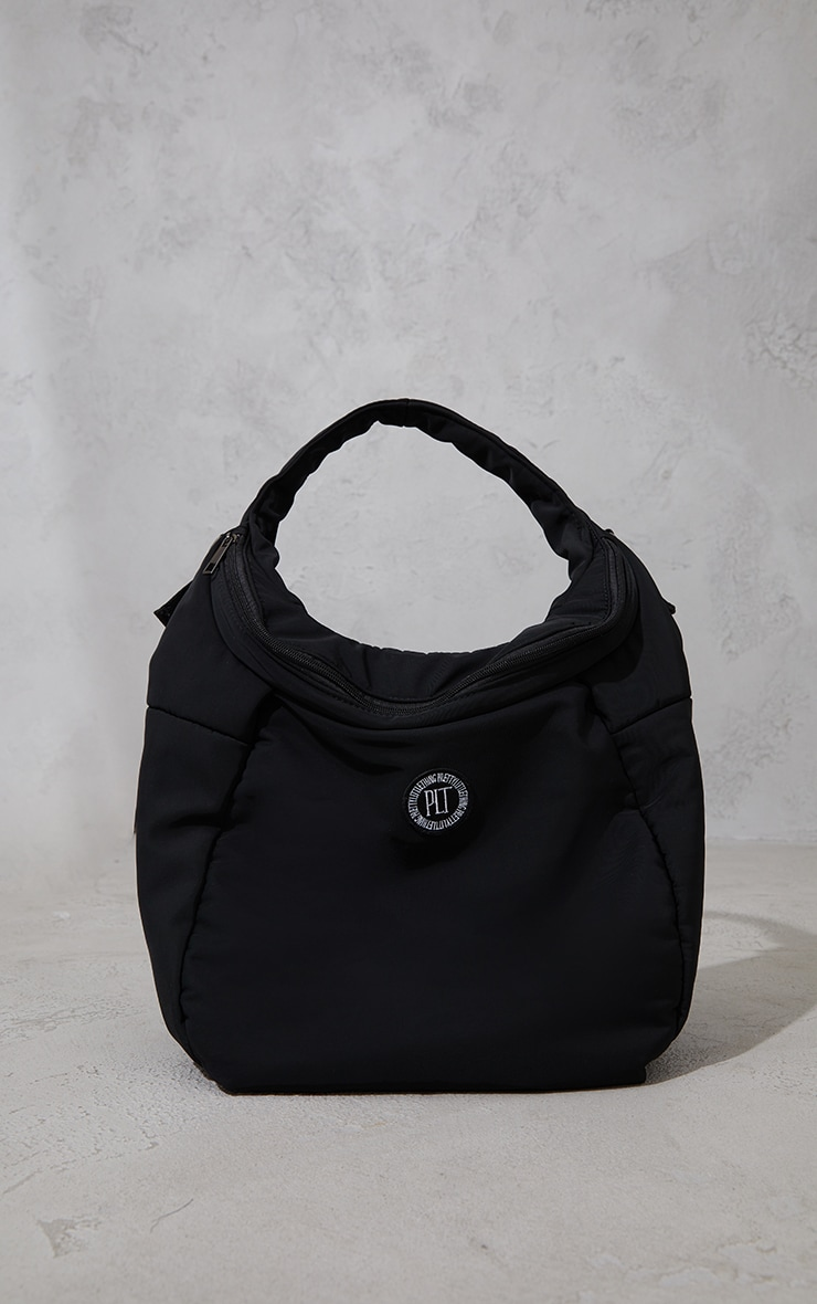 PRETTYLITTLETHING Black Badge Slouchy Tote Bag 2