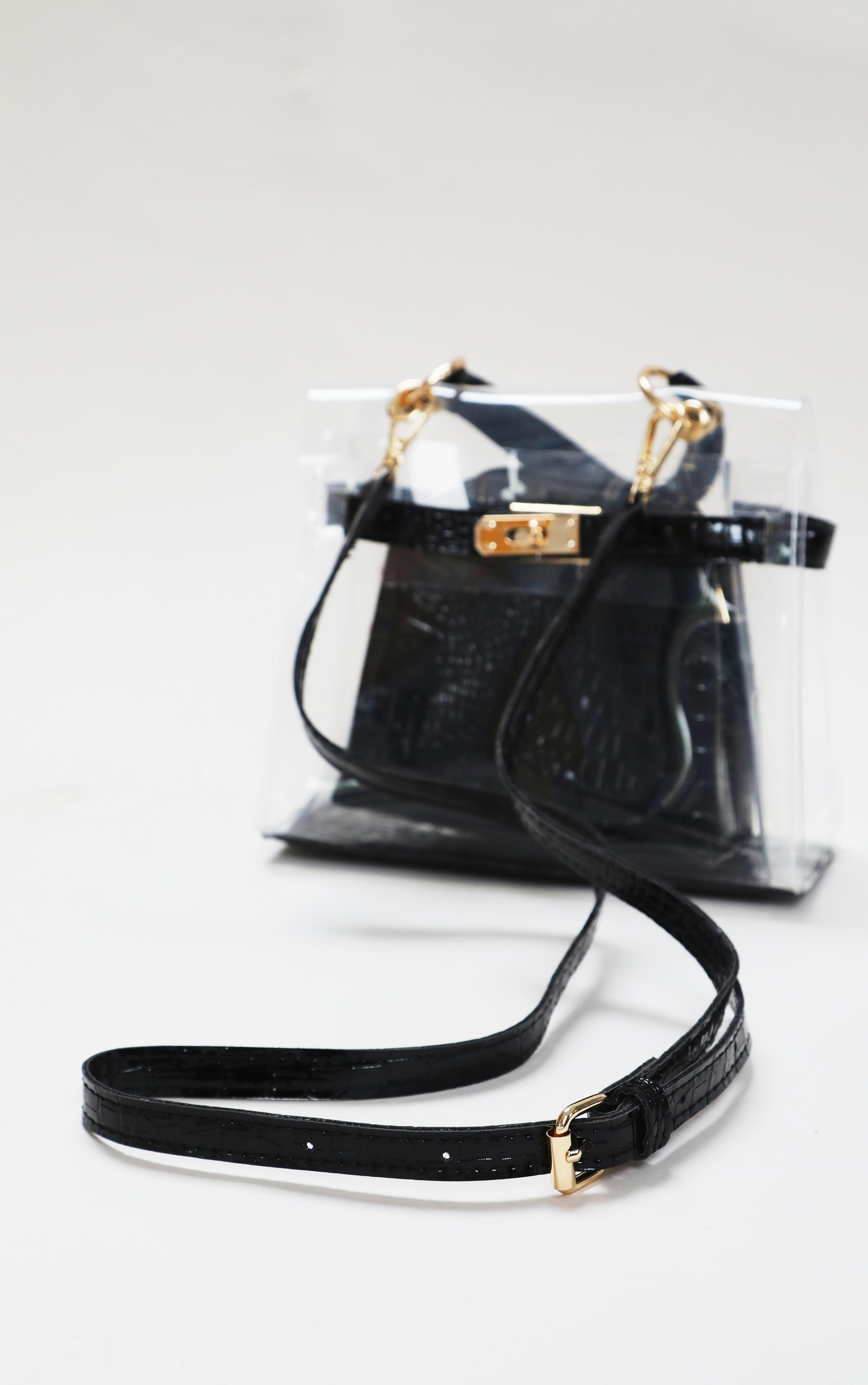 Clear Mini Black Croc Cross Body Bag 5
