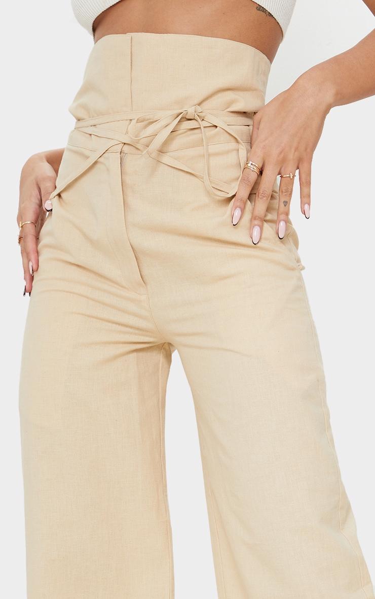 Stone High Waisted Linen Wide Leg Pants 4
