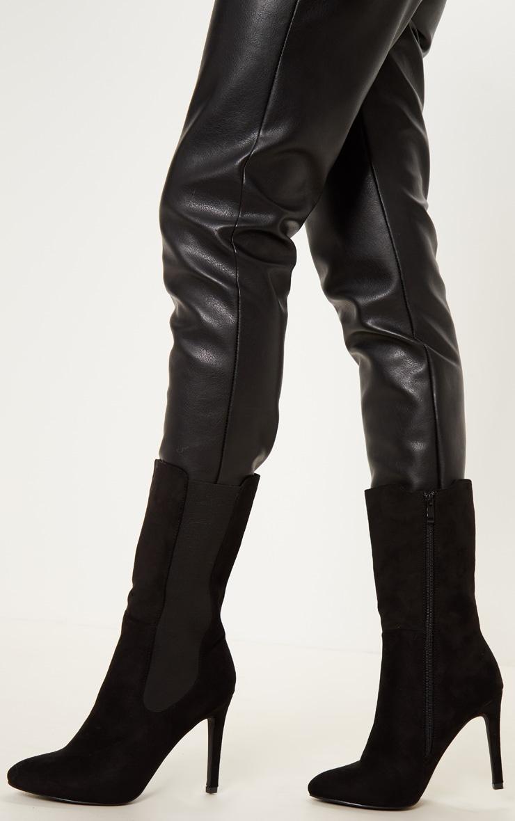 Black Elastic Side Heeled Midi Boot by Prettylittlething