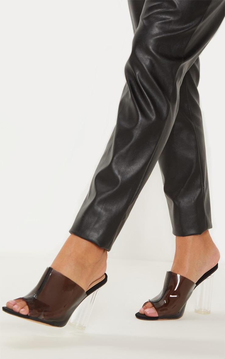 Black Clear Block Heel Mule Sandal