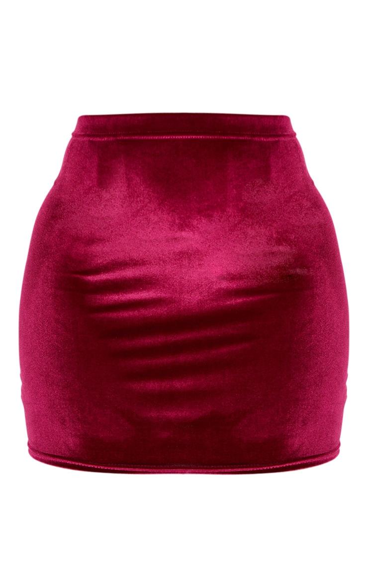 Burgundy Basic Velvet Mini Skirt 3