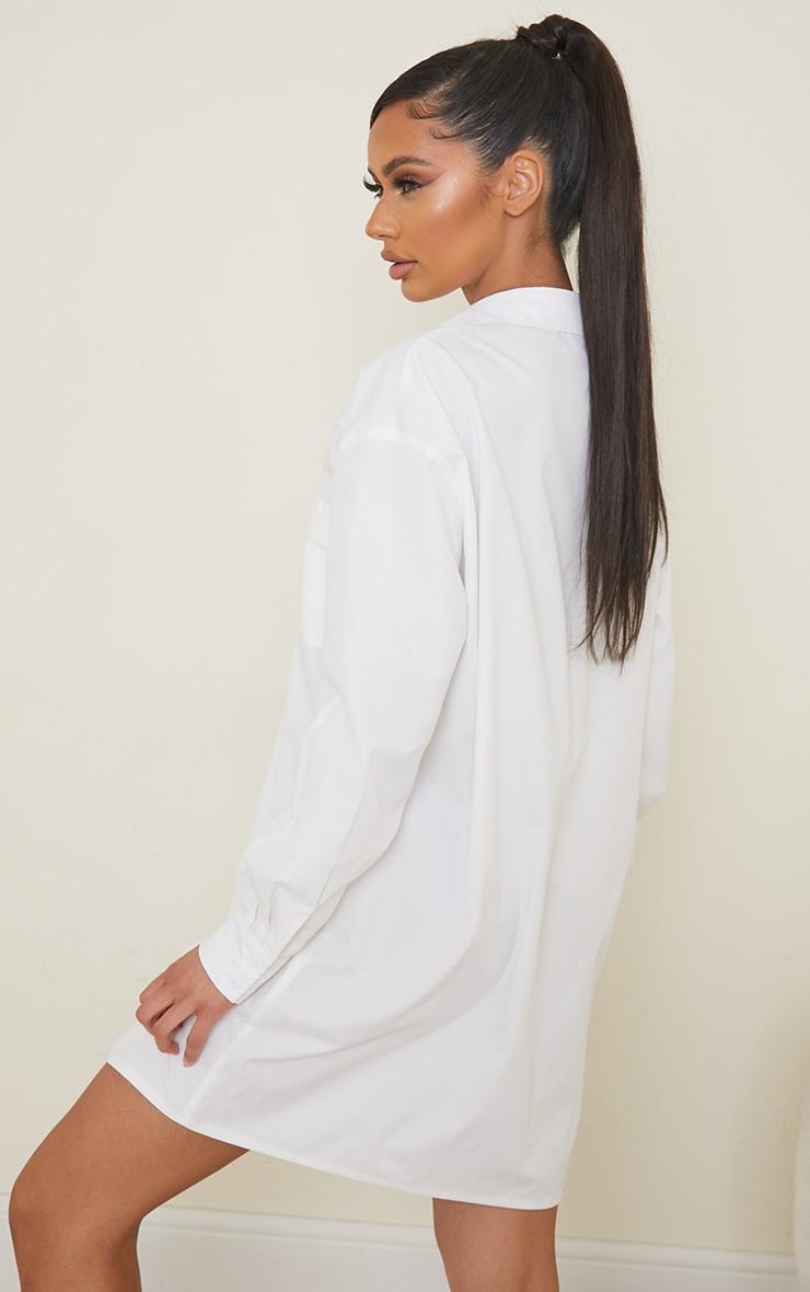 White Yoke Detail Button Up Oversized Shirt Dress 2
