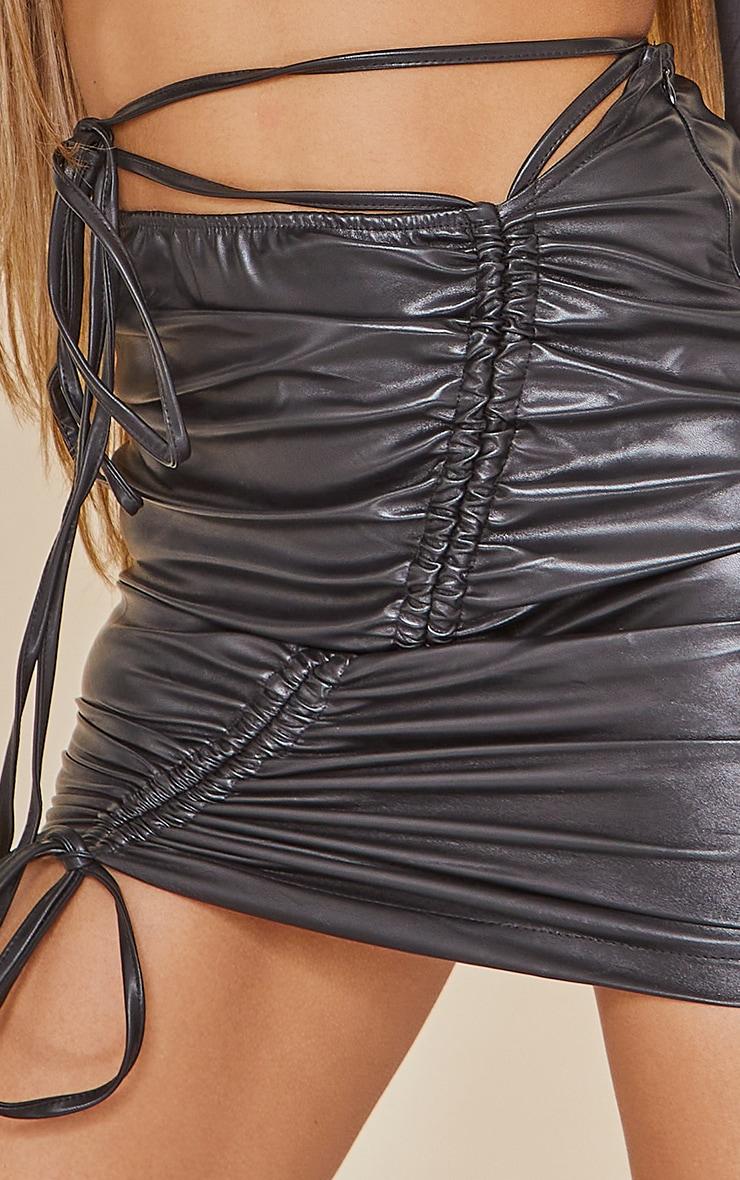 Black Faux Leather Ruched Asymmetric Tie Waist Mini Skirt 5