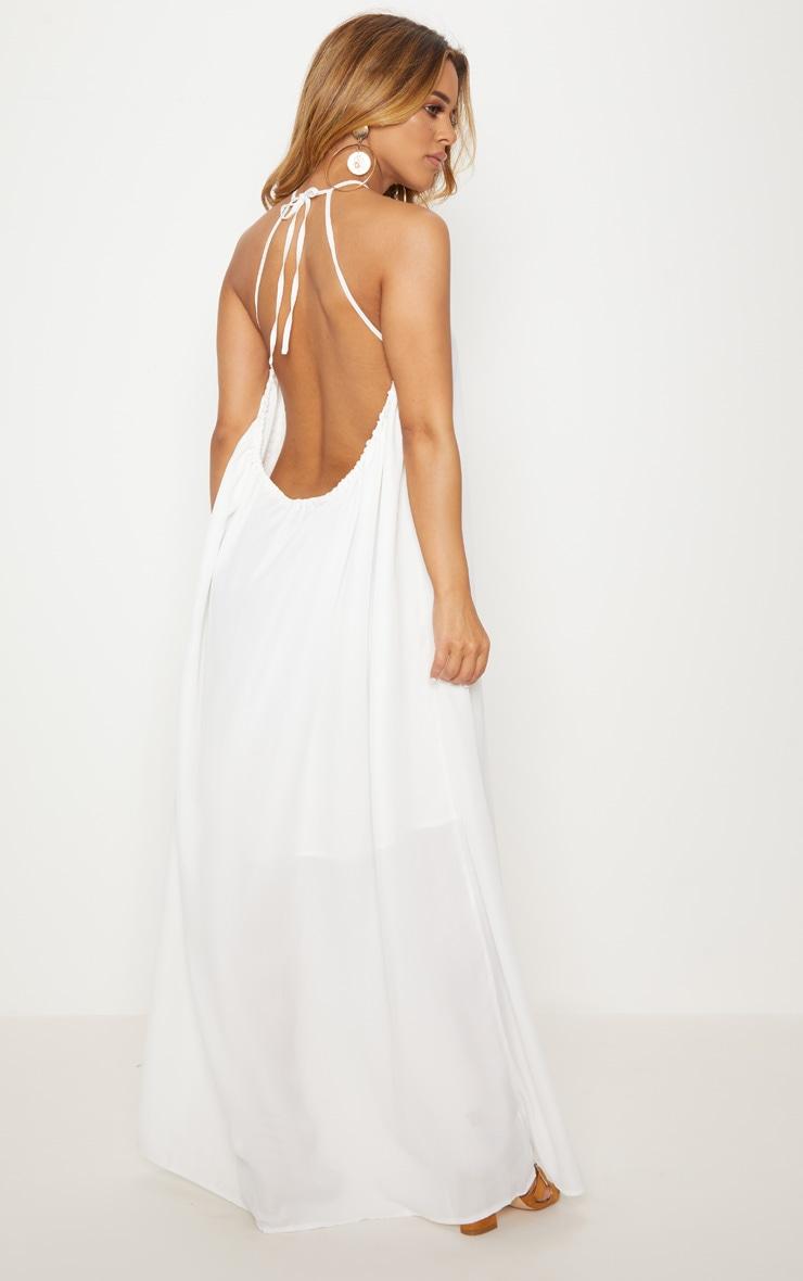 Petite White Halterneck Scoop Back Maxi Dress 2