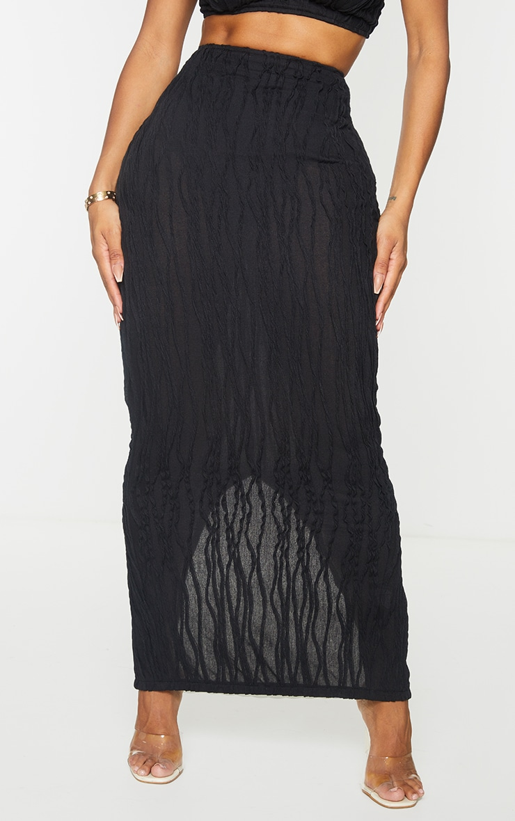 Shape Black Textured Rib Midaxi Skirt 2