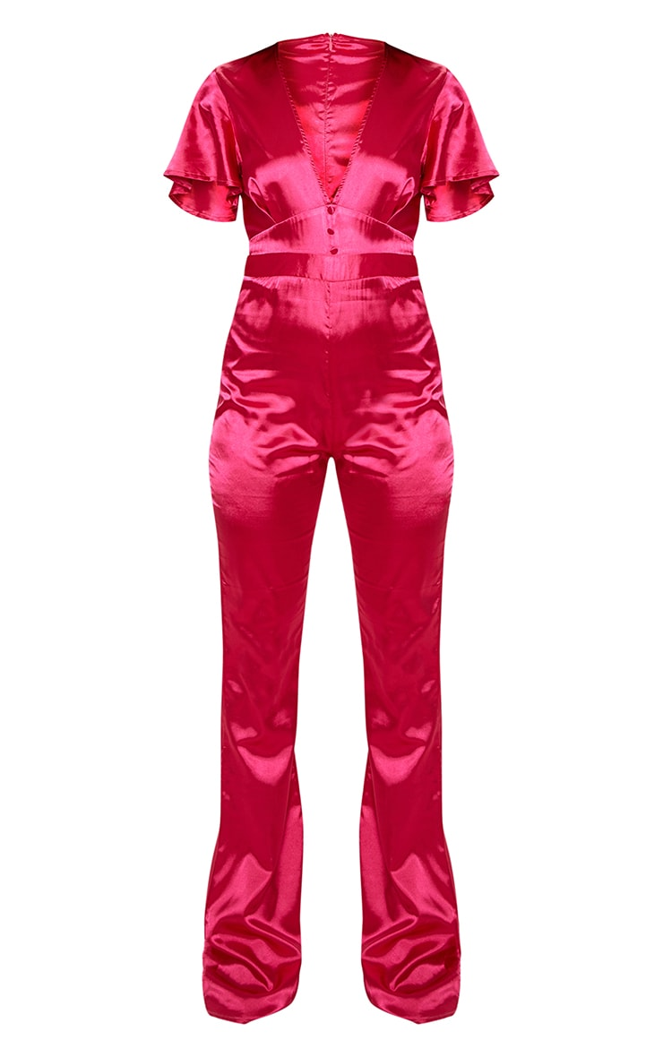 Magenta Satin Button Detail Flared Leg Jumpsuit 3