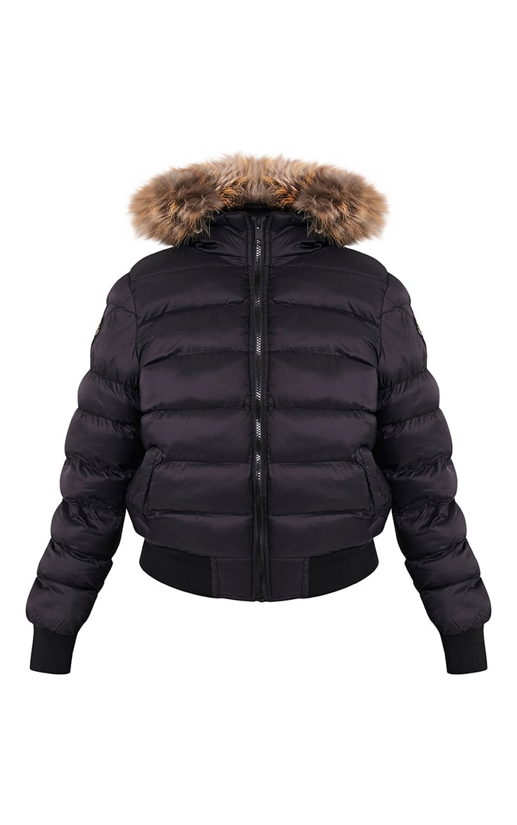 Chanah Black Faux Fur Trim Puffa Jacket 3