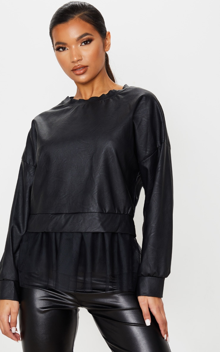 Black Faux Leather Tulle Peplum Long Top 1