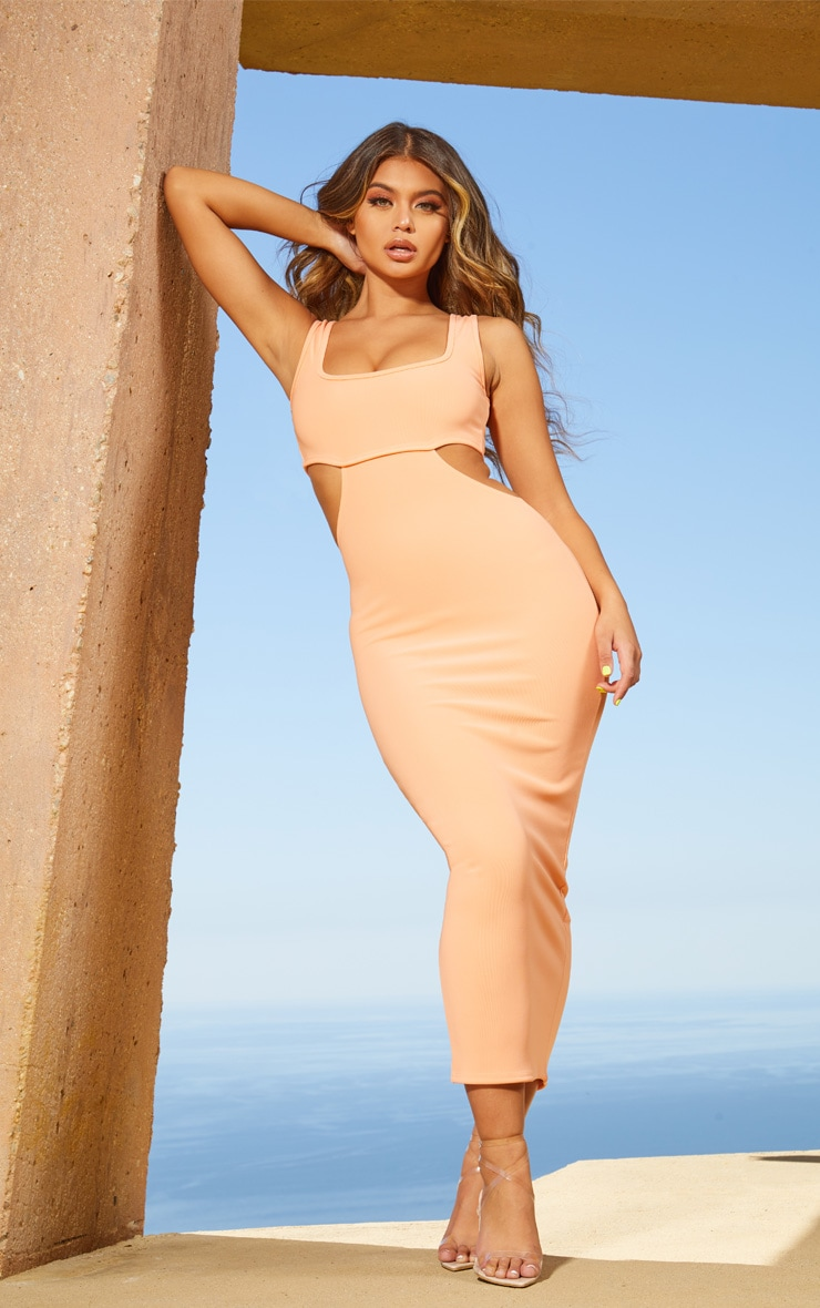 Peach Second Skin Square Neck Cut Out Midaxi Dress 1