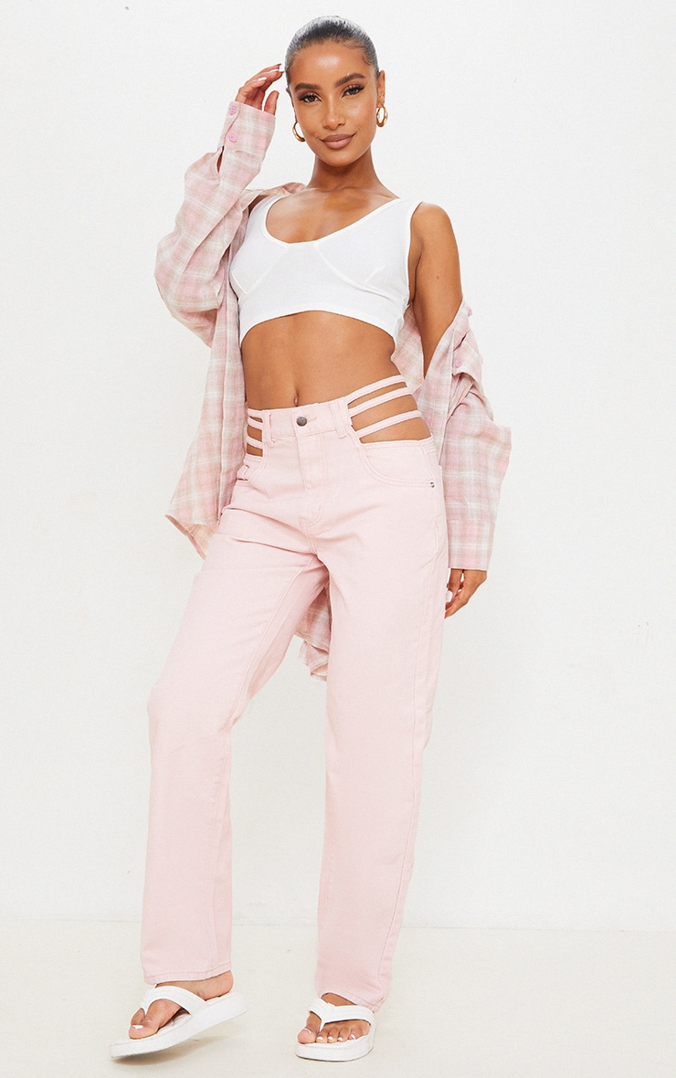 Pale Pink Strappy Cut Out Hip Straight Leg Jeans 1