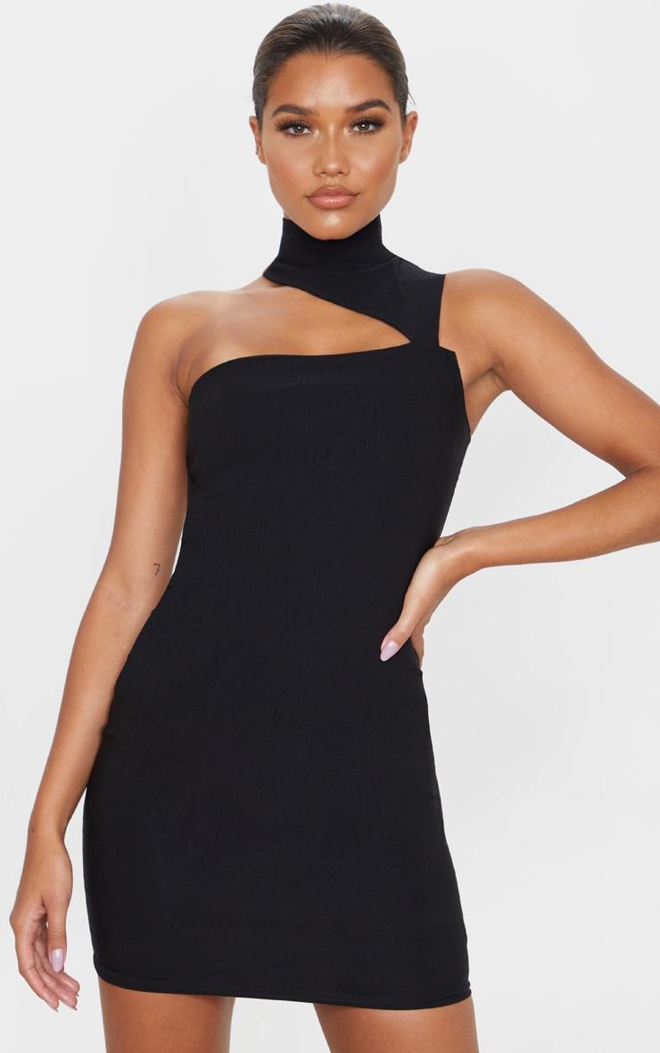 Black high neck cut out bodycon dress