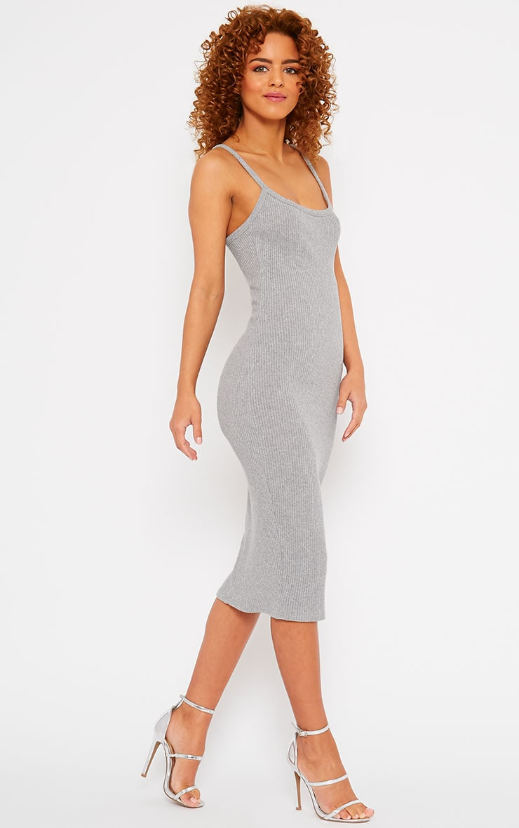 Tasmine Grey Ribbed Midi Dress 4