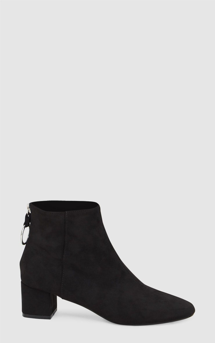 Black Faux Suede Ring Zip Ankle Boots 3