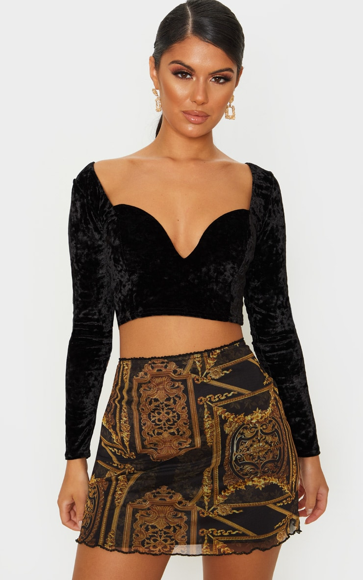 Black Velvet V Wire Long Sleeve Crop Top 1