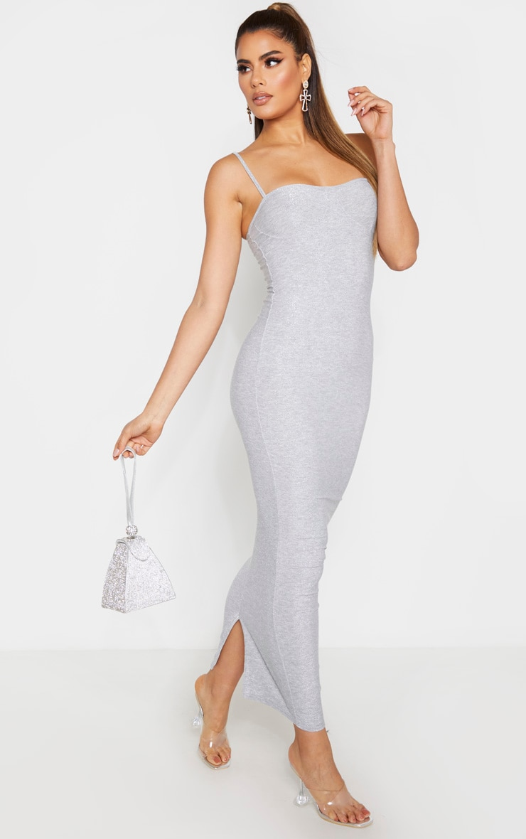 Tall Silver  Strappy Bodycon Maxi Dress  4