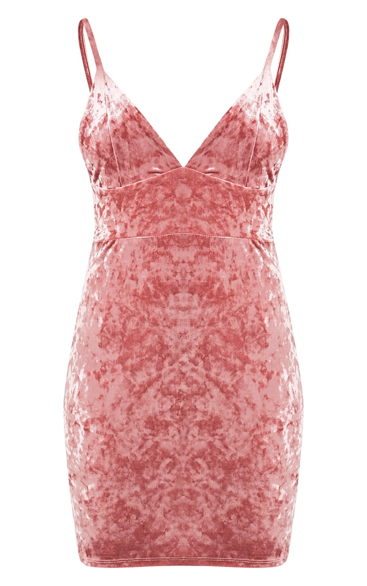 Carlisa Dusty Pink Velvet Strappy Bodycon Dress 5