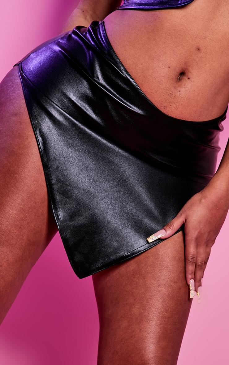 Shape Black PU Curved Hem Bodycon Skirt 5
