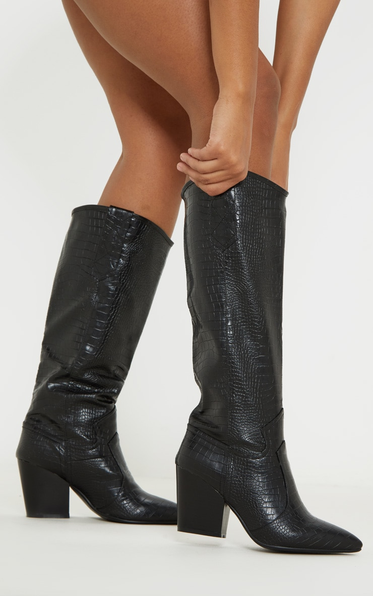 Black Knee High Heeled Western Boot 1