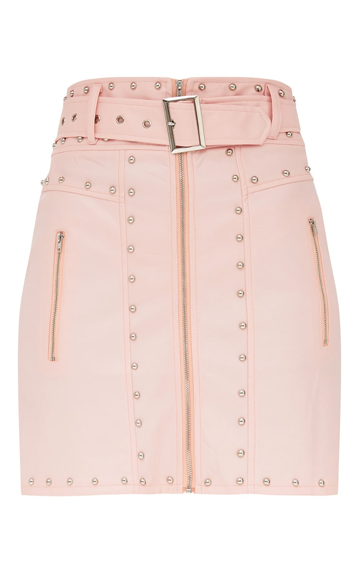 Pink Faux Leather Stud Detail Belted Mini Skirt 3