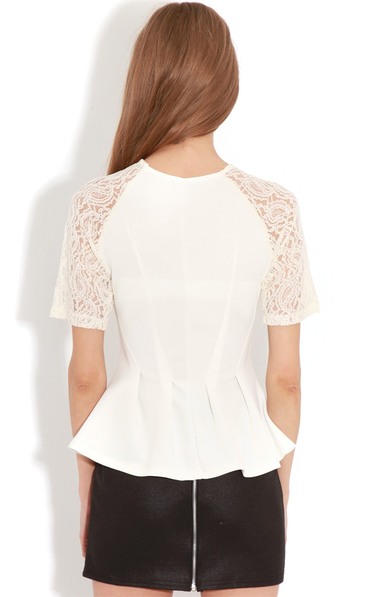 Tamia Cream Peplum Top With Lace Capped Sleeves 2